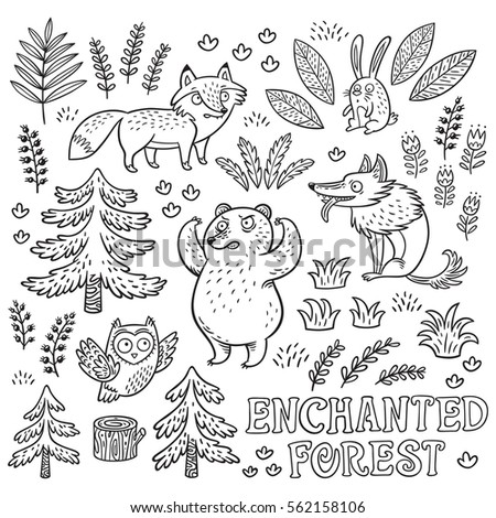 enchanted forest vector black