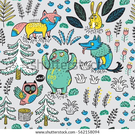 Enchanted Forest Vector Colorful Seamless Pattern With Crazy Animals Funny Background Cartoon Fox