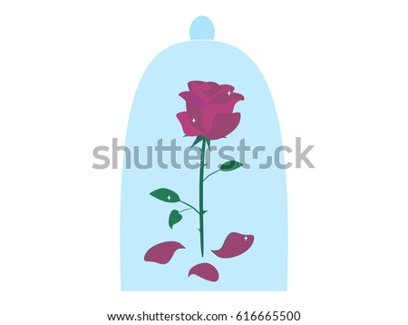 Enchanted red rose under a glass dome on white background. Fairy rose from The Beauty and the Beast story. Vector flat illustration.