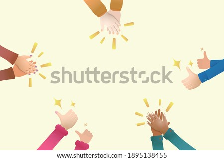 Encourage Hand clap and thumb up by peoples for praise and encouragement vector illustration graphic EPS 10 file Stock photo ©