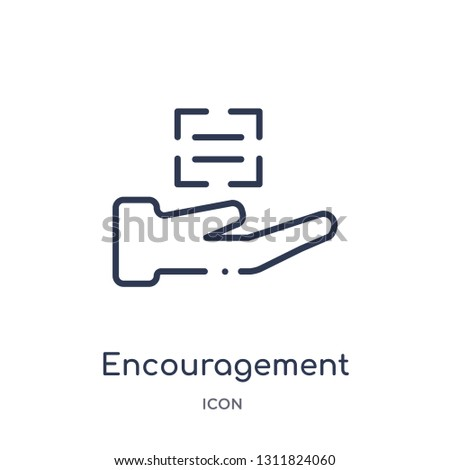encouragement icon from zodiac outline collection. Thin line encouragement icon isolated on white background.
