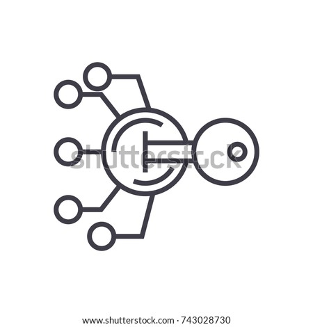 encryption, cryptography key concept vector thin line icon, symbol, sign, illustration on isolated background