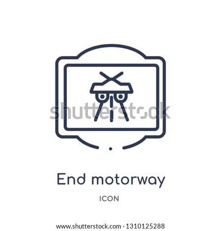 end motorway icon from traffic signs outline collection. Thin line end motorway icon isolated on white background.