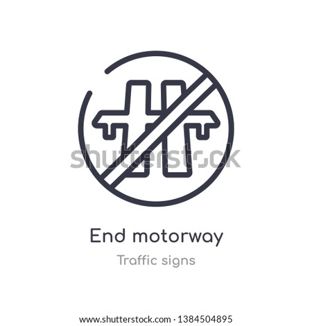end motorway outline icon. isolated line vector illustration from traffic signs collection. editable thin stroke end motorway icon on white background