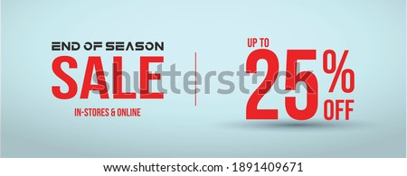 End of season sale with 25% off cover banner for website and social media in cyan background. 25% off sale banner for facebook and instagram post. 25% sale announcement web page  template.  Foto stock ©