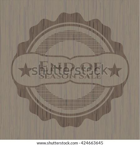 End of Season Sale wooden emblem. Vintage.