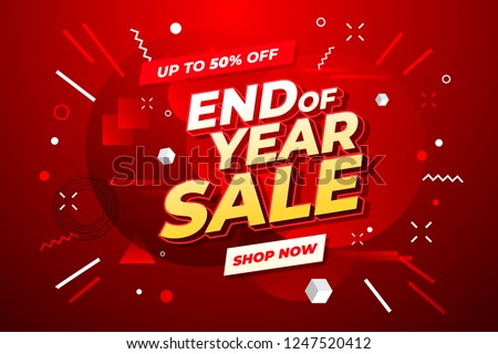 End of year sale banner. Sale banner template design.