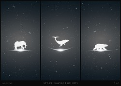 Endangered animals in space. White silhouette of lonely whale, polar bear and elephant. Black and white vertical backgrounds with stars and glowing outline. Abstract vector illustration set
