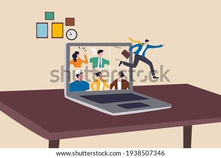 Ending COVID-19 lockdown, people back to work in the office, end remote working and return to work face to face concept, businessman jumping from remote video call running back to work in the office.