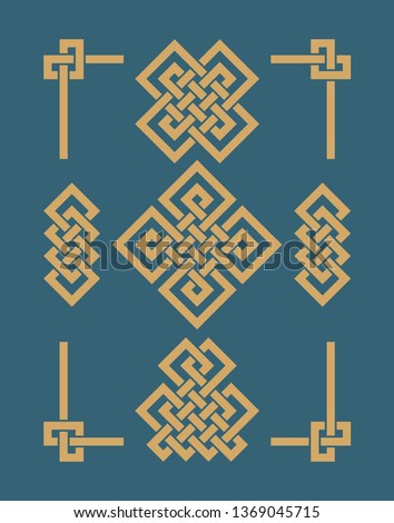 Endless Auspicious knots set. China ornament - symbol of Tibet, Eternal, Buddhism and Spirituality. Feng Shui element, geometric ornament. Sacred geometry.