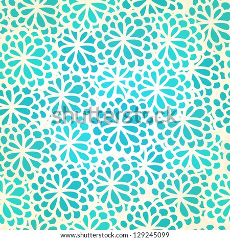 Endless blue stylized floral texture. Seamless hand drawn romantic pattern with flowers. Template for design