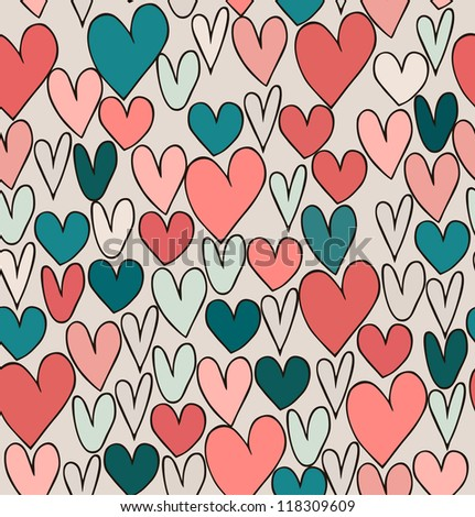 Endless bright abstract love pattern. Cute cartoon backdrop with hand drawn hearts. Textile surface texture.