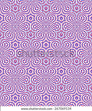 Endless colorful symmetric pattern, graphic design. Geometric intertwine optical composition, clear EPS10 vector.