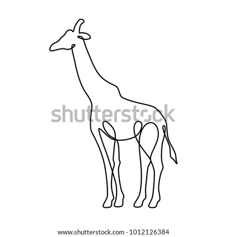 Endless line art illustration of giraffe. Continuous black outline drawing on white background.