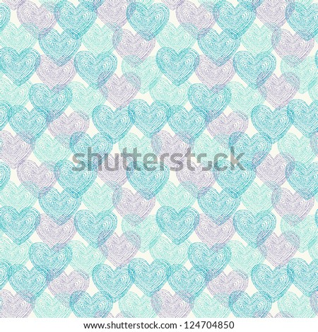 Endless pattern with decorative blue hearts. Template for design and decoration