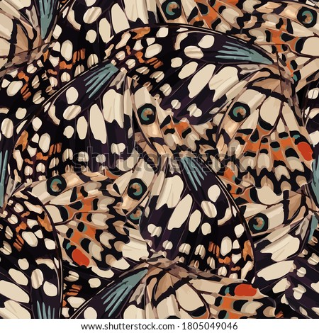 endless repeating, colorful geometric butterfly wing drawing pattern