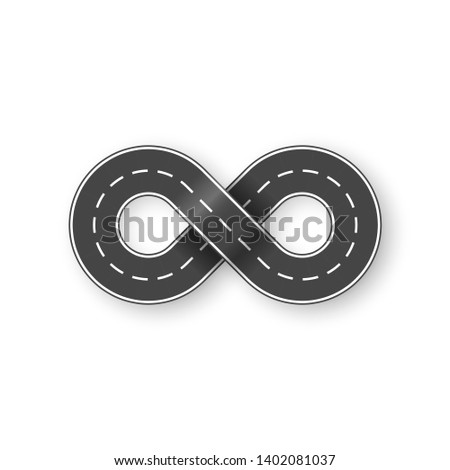 Endless road in shape of infinity sign. Graphic transportation concept. Vector illustration isolated on white background