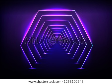 Endless tunnel optical illusion, science fiction rocket launching runway or teleport illuminating fluorescent neon light realistic vector illustration. Abstract futuristic background with light effect