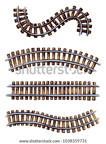 Endless wooden brown ties and wavy bend steel grey rails on white space for text. Freehand bright color hand drawn picture icon sketchy in art scribble vintage style. Perspective view of traintrack