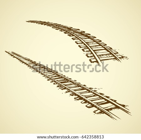 Endless wooden ties and bend steel rails isolated on white. Freehand outline ink hand drawn picture sketchy in art scribble vintage style pen on paper. Perspective view with space for text
