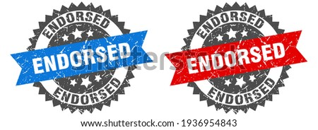 endorsed grunge stamp set. endorsed band sign Stock photo ©