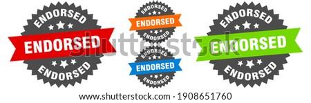 endorsed sign. round ribbon label set. Stamp Stock photo ©