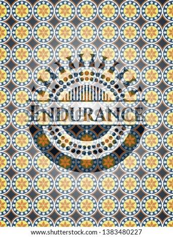 Endurance arabic style badge. Arabesque decoration.