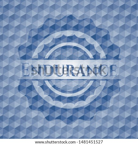 Endurance blue emblem or badge with abstract geometric polygonal pattern background. Vector Illustration. Detailed.