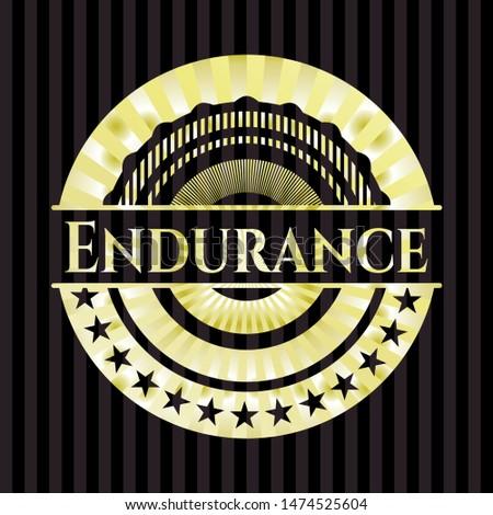 Endurance gold badge or emblem. Vector Illustration. Detailed.