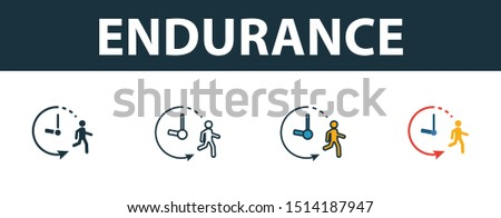 Endurance icon set. Premium simple element in different styles from fitness icons collection. Set of endurance icon in filled, outline, colored and flat symbols concept.