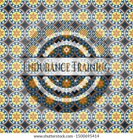 Endurance Training arabic badge background. Arabesque decoration.