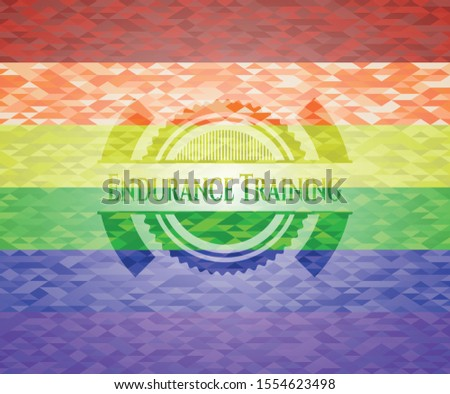 Endurance Training emblem on mosaic background with the colors of the LGBT flag