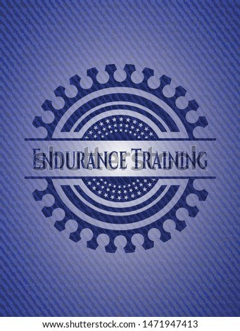 Endurance Training emblem with jean texture. Vector Illustration. Detailed.