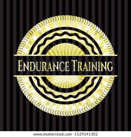 Endurance Training gold emblem or badge. Vector Illustration. Detailed.
