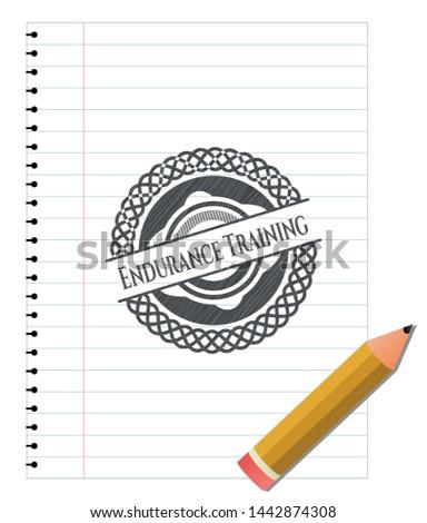 Endurance Training pencil strokes emblem. Vector Illustration. Detailed.
