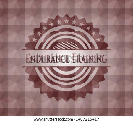Endurance Training red polygonal badge. Seamless.