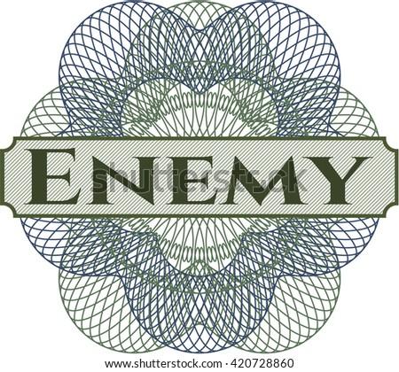Enemy written inside abstract linear rosette