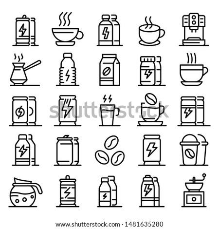 Energetic drink icons set. Outline set of energetic drink vector icons for web design isolated on white background Foto stock ©