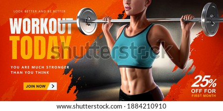 Energetic fitness training banner ad. 3d illustration of athletic woman doing barbell squat designed with blurred gym scene and orange brush stroke in the background.