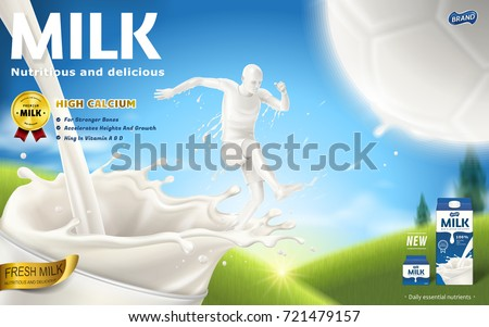 Energetic milk ads, soccer player is kicking a football with his full strength which is made by milk, bokeh field background in 3d illustration