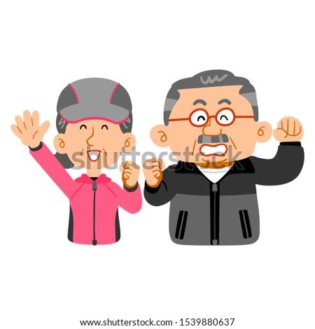Energetic senior senior couple wearing sportswear