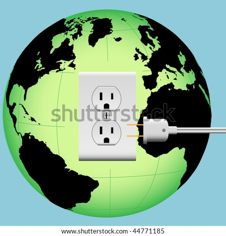 ENERGIZE EARTH with an electric plug in an outlet in an Energy Globe. - stock vector