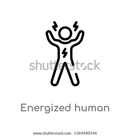 energized human vector line icon. Simple element illustration. energized human outline icon from feelings concept. Can be used for web and mobile Foto stock ©