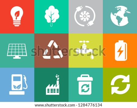 Energy And Ecology Icons, Nature icons set - environment ecology element - eco plant sign and symbols