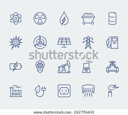 Energy and electricity icon set in thin line style