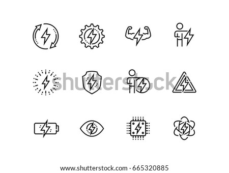 Energy and electricity related vector icon set in thin line style Foto stock ©