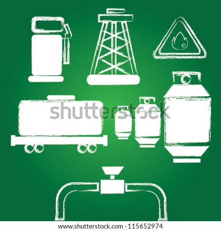 Energy and oil icon set,Drawing,Vector
