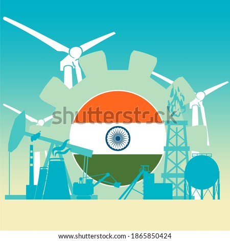 Energy and power icons set with flag of India. Sustainable energy generation and heavy industry.