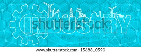 Energy and power icons. Sustainable energy generation and heavy industry. Industry word decorated by gear. Horizontal industrial web banner