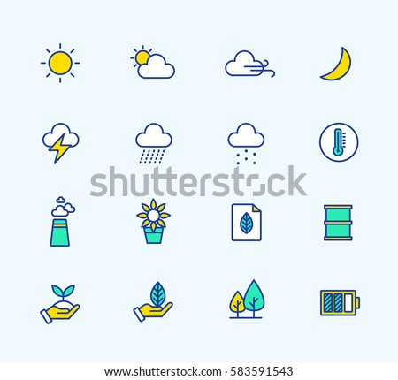 energy and Weather icons, Neon color, Symbols for mobile and web graphics